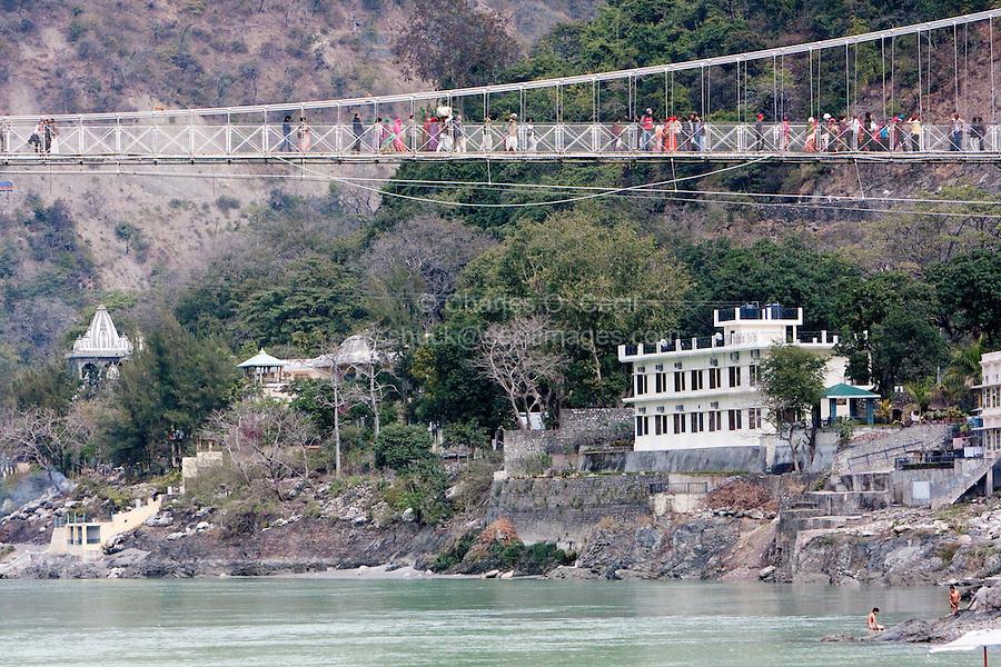 India, Rishikesh.  Suspension Footbridge over the Ganges (Ganga).