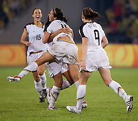 Shannon Boxx, Carli Lloyd, Heather O'Reilly, Kate Markgraf. The USWNT defeated Brazil, 1-0, to win the gold medal during the 2008 Beijing Olympics at Workers' Stadium in Beijing, China.