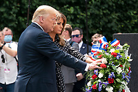 US President Donald J. Trump, alongside First Lady Melania Trump, lays a wreath at the Korean War Veterans Memorial in Washington, DC, USA, 25 June 2020. On 24 June, in the wake of anti-racism protests aimed at monuments around the country, the president activated the National Guard to provide unarmed security for monuments in the nationís capital.<br /> Credit: Jim LoScalzo / Pool via CNP/AdMedia