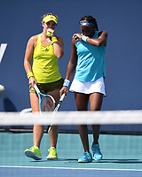 MIAMI GARDENS, FL - MARCH 30: Coco Gauff, Caty McNally Vs Giuliana Olmos, Gabriela Dabrowski at the 2021Miami Open at Hard Rock Stadium on March 30, 2021 in Miami Gardens, Florida. <br /> CAP/MPI04<br /> ©MPI04/Capital Pictures