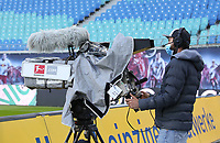 16th May 2020, Red Bull Arena, Leipzig, Germany; Bundesliga football, Leipzig versus FC Freiburg;  A TV cameraman with mask at the edge of the field