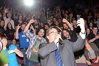 MONTREAL, CANADA – JULY 17 - Montreal Mayor Denis Coderre take a selfie while adressing the audience of Fantasia Festival on the opening day , July 17, 2014.<br /> <br /> <br /> Photo : Agence Quebec Presse - Vincent Frechette