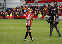 22nd May 2021; Brentford Community Stadium, London, England; English Football League Championship Football, Playoff, Brentford FC versus Bournemouth; Mads Bidstrup of Brentford applauding the Brentford fans after full time