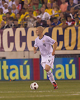USA midfielder Michael Bradley (4) at midfield. Brazil  defeated the US men's national team, 2-0, in a friendly at Meadowlands Stadium on August 10, 2010.