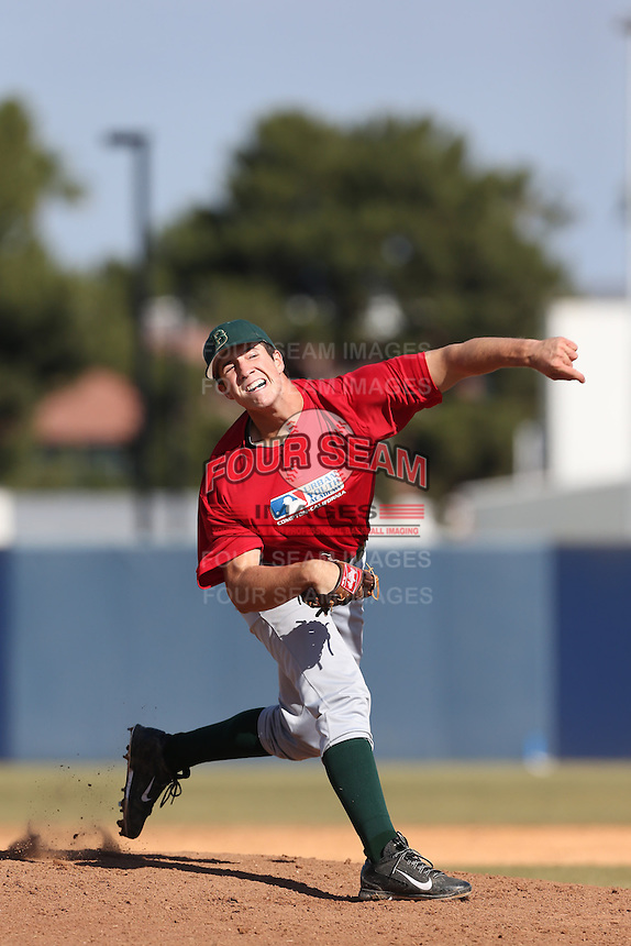 Cameron Bishop of Brea Olinda High School in Brea, California during the MLBS Southern California Invitational Workout at the Urban Youth Academy on February 14, 2014 in Compton, California. (Larry Goren/Four Seam Images)