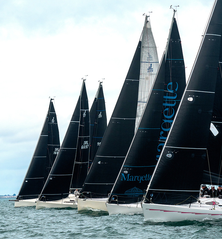 IRC1 start – Checkmate XVIII (Nigel Biggs, nearest) now leads overall, while the J/99 Snapshot (M & R Evans, far end) is second. Photo: Annraoi Blaney