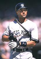 Derek Jeter of the New York Yankees during a 2001 season MLB game at Angel Stadium in Anaheim, California. (Larry Goren/Four Seam Images)