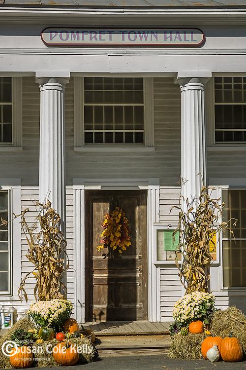 Pomfret, Vermont town hall in autumn