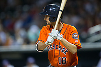 Stijn van der Meer (18) of the Buies Creek Astros at bat against the Winston-Salem Dash at BB&T Ballpark on April 13, 2017 in Winston-Salem, North Carolina.  The Dash defeated the Astros 7-1.  (Brian Westerholt/Four Seam Images)