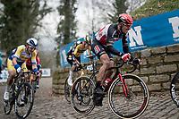 Philippe Gilbert (BEL/Lotto-Soudal) up the Kapelmuur / Muur van Geraardsbergen<br /> <br /> 76th Omloop Het Nieuwsblad 2021<br /> ME(1.UWT)<br /> 1 day race from Ghent to Ninove (BEL): 200km<br /> <br /> ©kramon