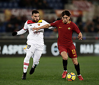 Calcio, Serie A: AS Roma - Benevento, Roma, stadio Olimpico, 11 gennaio 2018.<br /> Roma's Cengiz Under (r) in action with Benevento's Enrico Brignola (l) during the Italian Serie A football match between AS Roma and Benevento at Rome's Olympic stadium, February 11, 2018.<br /> UPDATE IMAGES PRESS/Isabella Bonotto
