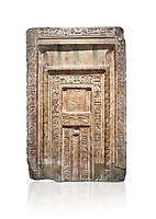 Ancient Egyptian False Door stele of Chamberlain Hornakht, son of Mera, slimestone, Middle Kingdom, 12th Dynasty (1939-1759 BC),  Egyptian Museum, Turin. Old fund cat 1612. white background<br /> <br /> A false door is an artistic representation of a door which does not function like a real door. They can be carved in a wall or painted on it. They are a common architectural element in the tombs of ancient Egypt,