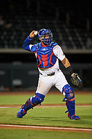 Mesa Solar Sox catcher Miguel Amaya (33), of the Chicago Cubs organization, throws to first base during an Arizona Fall League game against the Scottsdale Scorpions on September 18, 2019 at Sloan Park in Mesa, Arizona. Scottsdale defeated Mesa 5-4. (Zachary Lucy/Four Seam Images)