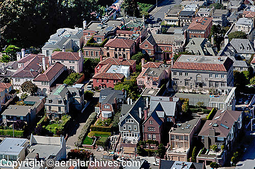 aerial photograph of large homes in Pacific Heights, San Francisco, California