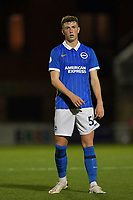Jensen Weir of Brighton & Hove Albion (U23s) during the EFL Trophy behind closed doors match between Leyton Orient and Brighton & Hove Albion Under 21s at the Matchroom Stadium, London, England played without supporters able to attend due to ongoing covid-19 government guidelines on 8 September 2020. Photo by Vince  Mignott.