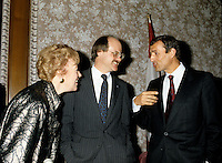 Ministers Flora McDonald, Richard French and French actor Francois Leotard, November 1985<br /> ,file photo