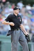 Home plate umpire George Reidel watches a fly ball during a game between the Greenville Drive and Savannah Sand Gnats on Sunday, August 24, 2014, at Fluor Field at the West End in Greenville, South Carolina. Greenville won, 8-5. (Tom Priddy/Four Seam Images)