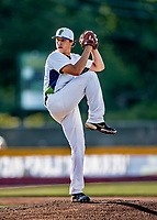 29 May 2021: Vermont Lake Monsters pitcher Brett Hansen, from Pleasanton, CA, on the mound against the Norwich Sea Unicorns at Centennial Field in Burlington, Vermont. The Lake Monsters defeated the Unicorns 6-3 in their FCBL Home Opener, the first home game played at Centennial Field post-Covid-19 pandemic. Mandatory Credit: Ed Wolfstein Photo *** RAW (NEF) Image File Available ***