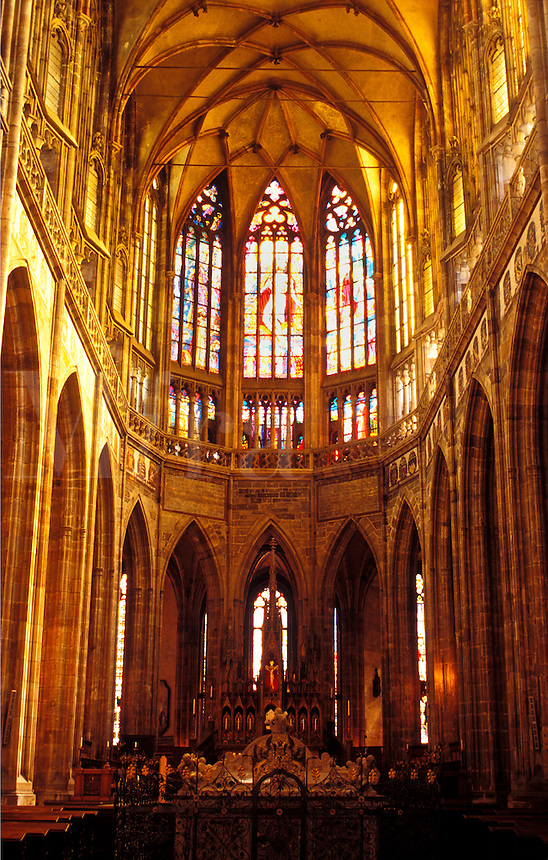 Prague Castle, Prague, church, Czech Republic, Praha, Central Bohemia, Europe, Interior of St. Vitus Cathedral at Prague Castle.