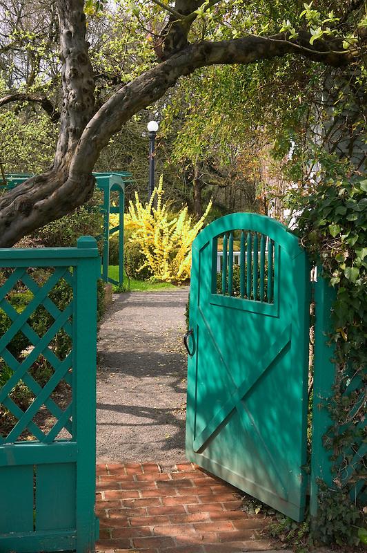 Gate in garden at Deepwood Estate. Salem, Oregon