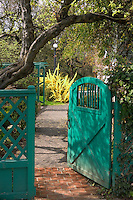 Gate in garden at Deepwood Estate. Salem, Oregon