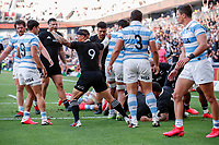 14th November 2020, Sydney, Australia;  The All Blacks celebrate after the Sam Cane try. Tri Nations rugby union test match,  New Zealand All Blacks versus Argentina Pumas. Bankwest Stadium, Sydney, Australia.
