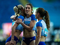 1st May 2021; Silesian Stadium, Chorzow, Poland; World Athletics Relays 2021. Day 1; Team GB celebrate reaching the final in the ladies 4 x 400 as Jessica Turner, Jessie Knight and Zoey Clark hug