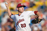 South Carolina starting pitcher Sam Dyson in Game 14 of the NCAA Division One Men's College World Series on June 26th, 2010 at Johnny Rosenblatt Stadium in Omaha, Nebraska.  (Photo by Andrew Woolley / Four Seam Images)