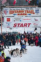 Ramey Smyth team leaves the start line during the restart day of Iditarod 2009 in Willow, Alaska
