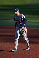 Florida Atlantic Owls first baseman Nolan Schanuel (12) on defense against the Charlotte 49ers at Hayes Stadium on April 2, 2021 in Charlotte, North Carolina. The 49ers defeated the Owls 9-5. (Brian Westerholt/Four Seam Images)