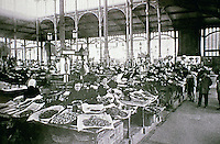 Interior of Central Market, late 19th century. Glass and iron construction. Paris