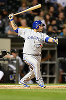 Toronto Blue Jays catcher Dioner Navarro (30) at bat during a game against the Chicago White Sox on August 15, 2014 at U.S. Cellular Field in Chicago, Illinois.  Chicago defeated Toronto 11-5.  (Mike Janes/Four Seam Images)