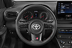 Car pictures of steering wheel view of a 2021 Toyota Yaris GR 3 Door Hatchback Steering Wheel