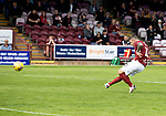 Arbroath v St Johnstone…15.08.21  Gayfield Park      Premier Sports Cup<br />Bobby Linn misses his penalty leaving Ali McCann to score his to win the game for saints<br />Picture by Graeme Hart.<br />Copyright Perthshire Picture Agency<br />Tel: 01738 623350  Mobile: 07990 594431