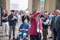 """Kundgebung der rechtspopulistischen Partei """"Alternative fuer Deutschland"""" (AfD) gegen Griechenland-Hilfspaket.<br /> Am Mittwoch den 19. August 2015 protestierte die rechte AfD vor dem Brandenburger Tor mit der symbolischen Verbrennung von Geld gegen das geplante dritte Hilfspaket fuer Griechenland.<br /> Verschiedene Redner sprachen sich dafuer aus, dass Griechenland """"aus dem Euro ausgeschlossen"""" werden soll.<br /> Im Bild: Beatrix Amelie Ehrengard Eilika von Storch, geborene Herzogin von Oldenburg, stellvertretende Bundesvorsitzende.<br /> 19.8.2015, Berlin<br /> Copyright: Christian-Ditsch.de<br /> [Inhaltsveraendernde Manipulation des Fotos nur nach ausdruecklicher Genehmigung des Fotografen. Vereinbarungen ueber Abtretung von Persoenlichkeitsrechten/Model Release der abgebildeten Person/Personen liegen nicht vor. NO MODEL RELEASE! Nur fuer Redaktionelle Zwecke. Don't publish without copyright Christian-Ditsch.de, Veroeffentlichung nur mit Fotografennennung, sowie gegen Honorar, MwSt. und Beleg. Konto: I N G - D i B a, IBAN DE58500105175400192269, BIC INGDDEFFXXX, Kontakt: post@christian-ditsch.de<br /> Bei der Bearbeitung der Dateiinformationen darf die Urheberkennzeichnung in den EXIF- und  IPTC-Daten nicht entfernt werden, diese sind in digitalen Medien nach §95c UrhG rechtlich geschuetzt. Der Urhebervermerk wird gemaess §13 UrhG verlangt.]"""