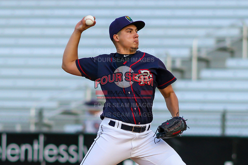 Cedar Rapids Kernels pitcher Andrew Cabezas (45) delivers a pitch during a Midwest League game against the Bowling Green Hot Rods on May 2, 2019 at Perfect Game Field in Cedar Rapids, Iowa. Bowling Green defeated Cedar Rapids 2-0. (Brad Krause/Four Seam Images)