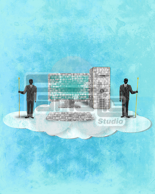 Illustrative image of businessmen and computer on cloud representing cloud computing
