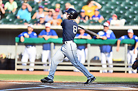 Mobile BayBears center fielder Brennon Lund (8) swings at a pitch during a game against the Tennessee Smokies at Smokies Stadium on June 2, 2018 in Kodak, Tennessee. The BayBears defeated the Smokies 1-0. (Tony Farlow/Four Seam Images)