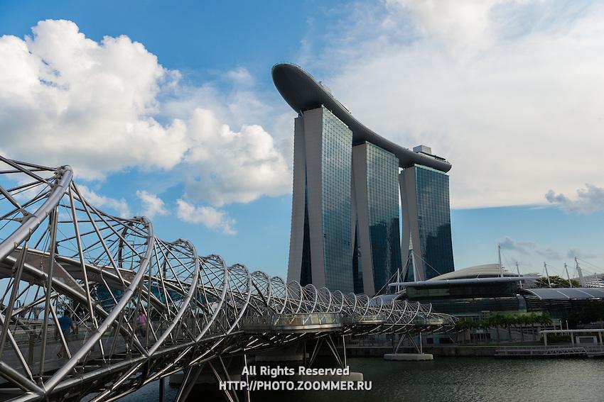 Helix bridge to Marina Bay Sands hotel, Singapore