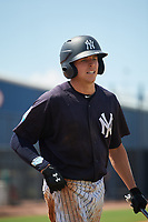 New York Yankees Brandon Lockridge (18) on deck during a Florida Instructional League game against the Pittsburgh Pirates on September 25, 2018 at Yankee Complex in Tampa, Florida.  (Mike Janes/Four Seam Images)