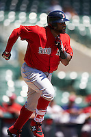 Boston Red Sox Pablo Sandoval (48) runs to first base during an Instructional League game against the Baltimore Orioles on September 22, 2016 at the Ed Smith Stadium in Sarasota, Florida.  (Mike Janes/Four Seam Images)