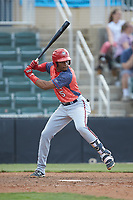 Yasel Antuna (5) of the Hagerstown Suns at bat against the Kannapolis Intimidators at Kannapolis Intimidators Stadium on May 6, 2018 in Kannapolis, North Carolina. The Intimidators defeated the Suns 4-3. (Brian Westerholt/Four Seam Images)