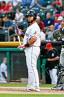 Juan Graterol (34) of the Salt Lake Bees at bat against the Albuquerque Isotopes in Pacific Coast League action at Smith's Ballpark on August 29, 2016 in Salt Lake City, Utah. The Isotopes defeated the Bees 9-4.  (Stephen Smith/Four Seam Images)