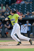 Right fielder Ian Strom (40) of the Columbia Fireflies bats in a game against the Rome Braves on Sunday, August 20, 2017, at Spirit Communications Park in Columbia, South Carolina. Rome won, 11-6 in 16 innings. (Tom Priddy/Four Seam Images)