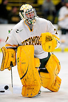 18 October 2009: University of Vermont Catamount goaltender Rob Madore, a Sophomore from Venetia, PA, warms up prior to facing the Boston College Eagles at Gutterson Fieldhouse in Burlington, Vermont. The Catamounts defeated the Eagles 4-1 to open Vermont's America East hockey season. Mandatory Credit: Ed Wolfstein Photo