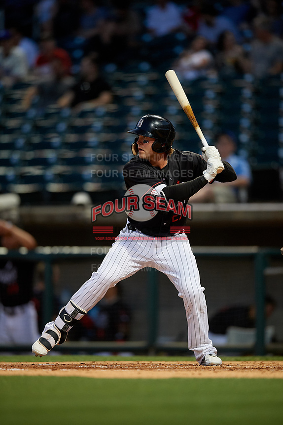 Birmingham Barons Trey Michalczewski (27) at bat during a Southern League game against the Chattanooga Lookouts on May 2, 2019 at Regions Field in Birmingham, Alabama.  Birmingham defeated Chattanooga 4-2.  (Mike Janes/Four Seam Images)