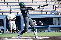 Michigan State outfielder Zaid Walker (3) follows through on his swing against the Michigan Wolverines on March 21, 2021 in NCAA baseball action at Ray Fisher Stadium in Ann Arbor, Michigan. Michigan scored 8 runs in the bottom of the ninth inning to defeat the Spartans 8-7. (Andrew Woolley/Four Seam Images)