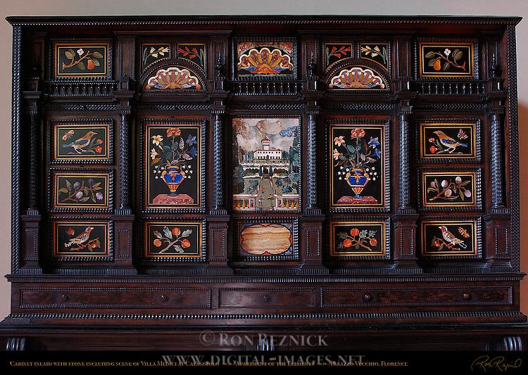 Cabinet Pietre Dure and Precious Stones Villa Medici di Cafaggiolo Sala delle Sabine Apartment of the Elements Palazzo Vecchio Florence