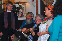 Attendees of Las Posadas enjoy song, dance and food in the nine-day Latin American celebration that culminates on Christmas Eve (Left to Right: Rev. Pat Size, Tom and Mary Ray Worley, Sandra Rybachek, Fran Jaetran and Damaris Drohin)