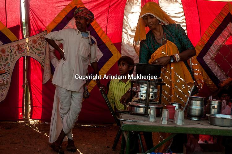 A tea stall at Pushkar fair ground. Rajasthan, India.